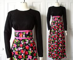 Vintage 1970s, Size XS, Black Maxi Dress with Colorful Flower by store SadieBess, on Etsy.com, $28.00, Vintage 1970s floor length dress with black long sleeve bodice and colorful floral print skirt in white, pink, red, and green on black. Excellent Vintage condition. Super cute, wish it was my size.