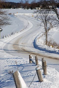 Snow covered country road - Looks like my Dads road.  :)