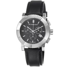 Burberry Men's BU2306 Round Chrono Black Dial Black Leather Strap Watch Burberry. $382.00. Black calfskin strap. Black chronograph dial. Quartz movement. Stainless steel case. Water-resistant to 30 m (99 feet). Save 23% Off!