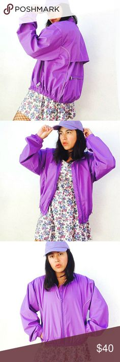 """Vintage 80's kawaii purple oversized windbreaker Vintage 80's Danskin made in Taiwan purple bomber windbreaker jacket. Size  L. Will fit S-M best (comes a tad reduced, check measurements to ensure fit).  Features zip close, zippered pockets at sides and back. Beautiful purple light weight fabric, Perfect for layering ♡  Measurements flat with jacket closed:  Lenght: 22"""" Armpit to armpit: 20"""" Sleeves: 24""""   ● Cool discount on bundles     Vintage 80s eighties retro coat jacket wind breaker hip…"""