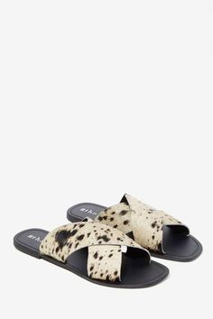 The Fifth Make You Jump Pony Hair Slide Sandal - Marbled - Flats
