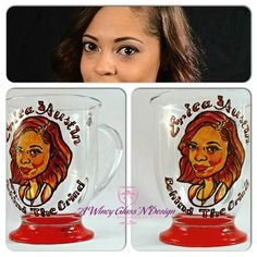 Custom Caricature Glass Mug by AWincyGlassNDesign on Etsy
