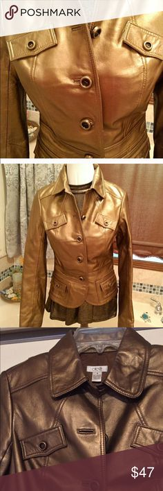 """""""CACHE"""" COPPER LEATHER JACKET! IN PERFCT CONDITION! Beautiful Butter soft leather jacket! Single breasted with flap pockets in the front and peplum waist. Bust 17 1/2"""", 30"""" waist. Fully love love lined. Pictures three and four show real color!. Tag reads size 6 but runs a little small. Cache Jackets & Coats Blazers"""