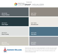 I found these colors with ColorSnap® Visualizer for iPhone by Sherwin-Williams: Grays Harbor (SW 6236), Dark Night (SW 6237), Rock Candy (SW 6231), Repose Gray (SW 7015), Dovetail (SW 7018), Snowbound (SW 7004), Inky Blue (SW 9149), Dustblu (SW 9161).