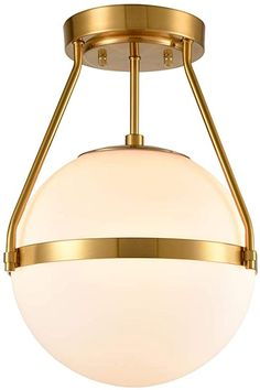 Mid Century Modern Globe Semi Flush Mount Ceiling Light Fixture, White Opal with Brass Finish, Living/Dinning Room - - Amazon.com