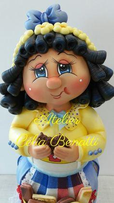 Pote Menina Bolacha VI pronta entrega na minha loja. Pote de vidro de 2 L trabalhado em biscuit em forma de menina comendo bolacha. celiabenatti.elo7.com.br