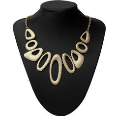 Sale 12% (4.15$) - Gold Plated Hollow Metal Geometric Bib Statement Necklace For Women