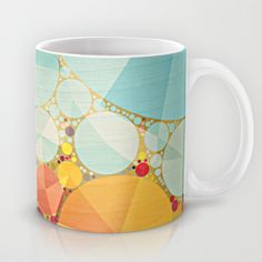 Travelling Show Abstract Circus Carnival Tent Mug by V. Sanderson / Chickens in the Trees - $15.00