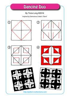 Dancing Duo by Tricia Long Zentangle Drawings, Doodles Zentangles, Doodle Drawings, Easy Drawings, Zen Doodle Patterns, Doodle Art Designs, Zentangle Patterns, Doodle Borders, Tangle Doodle