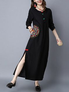 Vintage Embroidered Splited Long Sleeve O-neck Women Maxi Dresses is high-quality, see other cheap summer dresses on NewChic. Simple Kurti Designs, Kurti Neck Designs, Kurta Designs Women, Stylish Dress Designs, Designs For Dresses, Stylish Dresses, Blouse Designs, Mode Abaya, Mode Hijab