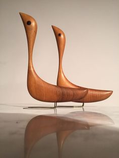 2 Pair JACOB HERMANN Teak Birds Danish Modern Denmark Rare Huge Bojesen