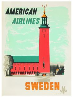 American Airlines * Sweden by Edward McKnight Kauffer (1940s)