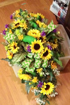 Summer Sunflower Saddle for headstone. Flower arrangement. Etsy shop - Wreaths By Occasion Facebook - Wreaths By Occasion