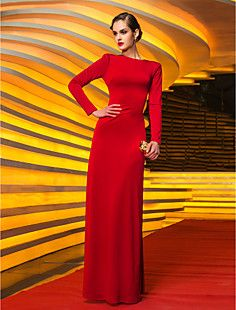 Sheath/Column Jewel Floor-length Jersey Evening Dress (75985... – USD $ 149.99