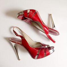 ALDO Patent Leather Slingback Heels Perfect for spring and summer! Love the mirror detail on heels. Great condition. Minor scuff on heel and on side of one shoe. Shown in photos. ALDO Shoes