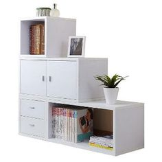 Customize your living space with Furniture of America Valencia Modular Storage Unit . This matte white cabinet can be assembled to your liking,. Built In Furniture, Modular Furniture, White Furniture, Home Decor Furniture, Cheap Furniture, Discount Furniture, Furniture Storage, White Storage Cabinets, Living Room Partition