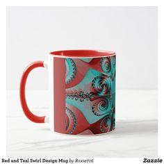 Red and Teal Swirl Design Mug