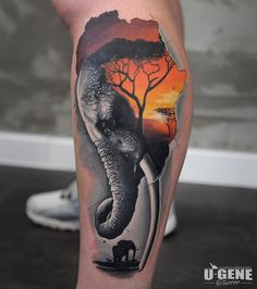 Gorgeous Elephant Tattoo and Sunset - Realistic Elephant Tattoo Designs - The Best Elephant Tattoo Designs - Cute Elephant Tattoo Designs and Ideas - Sexy Thigh Tattoo, Small Elephant Tattoo, Elephant Outline, Elephant Tattoo Meanings Realistic Elephant Tattoo, Elephant Tattoo Meaning, Cute Elephant Tattoo, Elephant Tattoo Design, Elephant Outline, Small Elephant Tattoos, Elephant Family Tattoo, Mandala Elephant Tattoo, Elephant Thigh Tattoo