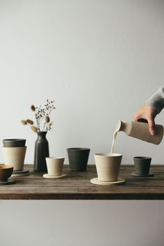 This exclusive ceramic cup and rest set is part of our collaboration with ceramicist Jono Smart. The textures and tones of the coast are an ever-present influence in all that we do, and these ever-evolving shapes and forms provided inspiration for the tactile nature and finish of these pieces made for us by the wonderful Jono.