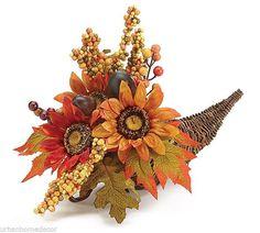 NEW Cornucopia Arrangement Rattan Horn Silk Floral by burton & BURTON 16 inches #burtonBURTON