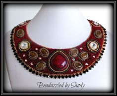 Chocolate & Cherries  A Bead Embroidered by beadazzledbysandy, $550.00