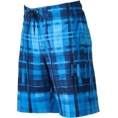 Men's SONOMA Goods for Life™ Plaid Stretch Swim Trunks ($28) ❤ liked on Polyvore featuring men's fashion, men's clothing, men's swimwear, med blue, mens swimshorts, mens swim trunks, mens swimwear, men's apparel and mens clothing