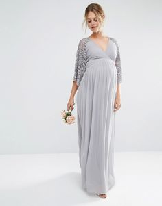28c75d164f2 Maya Maternity Wrap Front Pleated Maxi Dress With Lace Sleeve