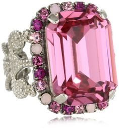 Sorrelli Sweet Heart Fancy Emerald Cut Shades of Pink Crystal Cocktail Adjustable Ring:Amazon:Jewelry
