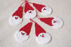 Crochet Santa Claus - Christmas decorations - Hanging Christmas ornaments set of 6    13.90