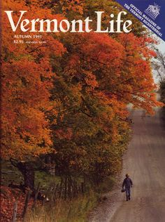 Autumn 1991. Walking a maple-lined road in Essex to do some fall fishing, photograph by George A. Robinson.