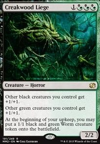 Creakwood Liege Magic the Gathering mtg rare green black creature card Rare Magic Cards, Thing 1, Magic The Gathering Cards, Alternative Art, Modern Masters, Wizards Of The Coast, Summoning, Funny Cards, Deck Of Cards