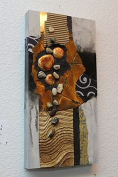 """CAROL NELSON This painting features corrugated paper, oxidized iron paint, plaster of Paris """"stones"""" covered with combusted origami foil, rocks, and paper textured with stucco patch. Cuadros Diy, Assemblage Art, Watercolor Artists, Abstract Photography, Texture Painting, Mosaic Art, Artist Art, Altered Art, Collage Art"""