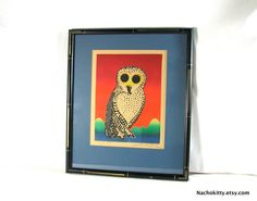 Mid Century Owl Embossed Etching Print, Handmade 115/250 by Motoi Oi, SIGNED, 1960's Vintage