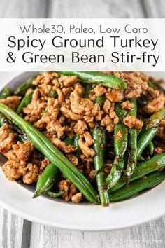 Spicy Ground Turkey and Green Bean Stir-fry | Slender Kitchen