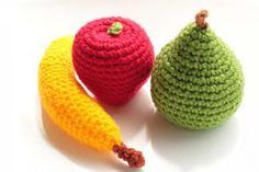 crochet fruit apple pear banana.