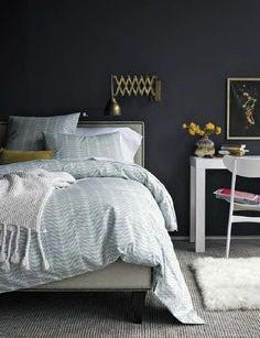 Dark walls, light bedding and light floor - Does it need to be a large room for this look to work or do you think I could pull it off in a small bedroom?