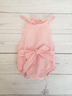 4e00968133c4 Pink baby romper-baby romper-baby bubble romper-sunsuit-ruffle romper-lace  romper-cotton romper-baby outfit-vintage baby outfit
