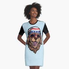 'American Golden Retriever' Graphic T-Shirt Dress by LazyKoala American Golden Retriever, Chiffon Tops, Tank Man, Classic T Shirts, Shirt Dress, Printed, Awesome, People, Mens Tops