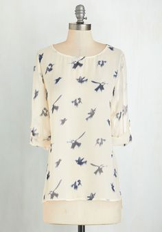 Free As a Hummingbird Top - Cream, Blue, Print with Animals, Work, Casual, Critters, Bird, 3/4 Sleeve, Scoop, White, Tab Sleeve, Mid-length