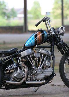 1948 Panhead Harley Davidson EL Oldschool Bobber Motorbike by Maurice.
