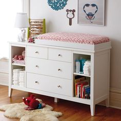 Take a regular old dresser. Add our changing table topper and pad. Presto change-o. You now have a clean, classic changing table. White Changing Table, Changing Table Topper, Baby Changing Tables, Changing Table Dresser, Baby Changer, Dresser Shelves, Kids Dressers, White Dressers, Layout