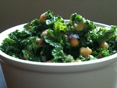 Ingredients:  - Kale, chopped  - Chickpeas  - Avocado  - Fresh basil, chopped  - Red onion, minced  - Garlic, minced  - Sprinkle of: salt, pepper + red pepper flakes  - Drizzle of: extra virgin olive oil, honey and lemon juice
