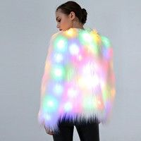 Wish | LED Fur Coat Stage Costumes Female Costume LED Plus Size 3XL Nightclub Christmas Outwear Women Dancer Star Jackets