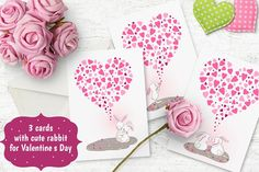 3 romantic cards with rabbits. by Imagine-art on @creativemarket