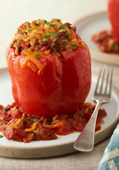 Mexican Stuffed Peppers for Two — No need to head out to your favorite Mexican restaurant to enjoy these stuffed peppers for two. They're quick, tasty and easy to make at home.