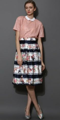 Stripes and Florals Midi Skirt