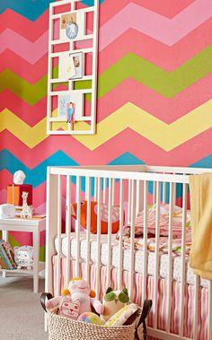 bright+bold chevron in a kid's room.im a sucker for a chevron print! Paredes Chevron, Girl Nursery, Girls Bedroom, Nursery Room, Child's Room, Bedrooms, Nursery Decor, Wall Decor, Deco Kids