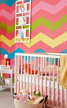 vibrant chevron painted wall #nursery