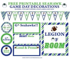 Free Seahawks Game Day Party Printables for Planning & Decorating at your Party! Free Printable Seahawk Game Day Party Decorations - includes Cupcake Toppers, Food Labels, and Legion of Boom 8 Seahawks Game Day, Seahawks Super Bowl, Seahawks Fans, Seahawks Football, Seattle Seahawks, Football Tailgate, Football Birthday, Football Crafts, Elmo Birthday