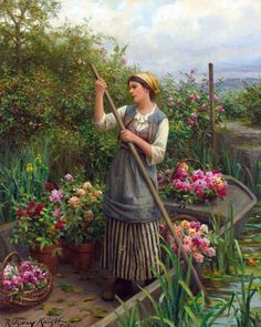 Daniel Ridgway Knight (né le 15 mars 1839 à Philadelphie, Pennsylvanie - mort le 9 mars 1924 à Paris) était un peintre américain. En 1861, Daniel Knight vient à Paris pour étudier la peinture . il préfère peindre le peuple dans ses bons moments de tous les jours : des paysannes dans la nature ou aux tâches ménagères. C'est un peintre naturaliste